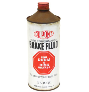 Vintage DuPont High Performance Brake Fluid Cone Top Advertising Tin Can