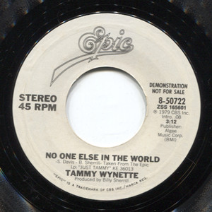Tammy Wynette: No One Else in the World / Mono (Promo) 45 rpm Vinyl Record