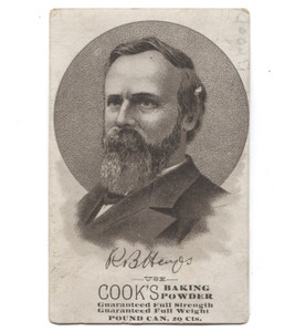 Antique Cook's Baking Powder Rutherford B. Hayes Victorian Trade Card
