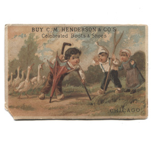 Antique C.M. Henderson Boots & Shoes Advertising Chicago Victorian Trade Card