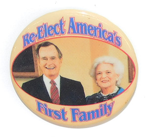 1992 George Bush First Family Political Re-Election Campaign Pinback Button