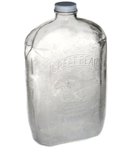 Vintage Great Bear Ideal Spring Water Embossed Glass Bottle w/ Polar Bear & Cap