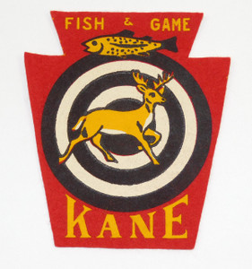 Vintage Keystone Shaped Felt Fish & Game Patch Kane, Pennsylvania