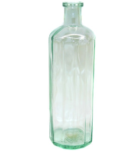 Antique Light Green Glass Carbona Multi-Sided Panel Bottle