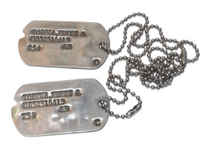 Matching Set 1954 Vintage U.S. Soldier Dog Tags Emery A. Topeka