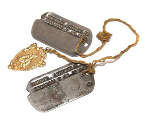 Matching Set World War II Vintage Army Soldier Dog Tags w/ Catholic Medal - Anthony F. Fember