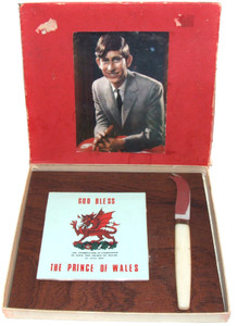 1969 Prince Charles of Wales Investiture Souvenir Cheese Tray Tile & Knife in Box