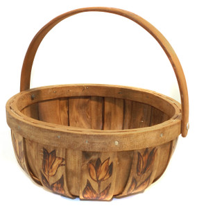 Littlefield Creations Vintage Handmade Wood Basket with Pyrography Tulip Flower Decoration