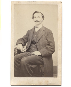 Antique CDV Photograph of Seated Victorian Man w/ Mustache Holding Gloves