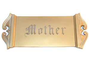 Antique Parsons Gold Tone Engraved Mother Art Deco Casket Plate Funeral Plaque