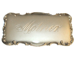 Mother Engraved Brushed Silver Art Nouveau Casket Decorative Plaque
