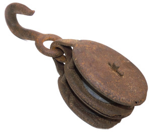 Antique Cast Iron & Steel Double Pulley with Hook
