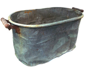 Antique Highly Distressed Rochester Copper Boiler Wash Tub Canner with Mottled Verdigris