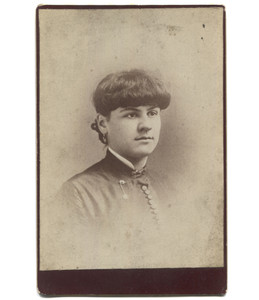 Antique Victorian Cabinet Card Photograph Short Haired Woman with Jewelry