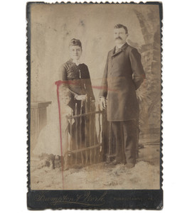 Antique Victorian Cabinet Card Photograph Family by Fake Wood Gate - Punxsutawney, PA