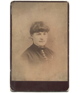Antique Victorian Cabinet Card Photograph Short Haired Woman w/ Jewelry