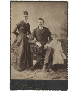 Antique Victorian Cabinet Card Photograph Family in Studio Father in Fancy Office Chair - Punxsutawney, PA