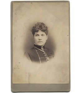 Antique Victorian Cabinet Card Photograph Woman with Fancy Buttons & Necklace