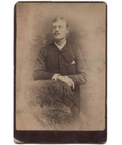 Antique Victorian Cabinet Card Photograph Young Man w/ Mustache by Hay Bales