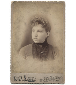 Antique Victorian Cabinet Card Photograph Woman with Choker Necklace - Punxsutawney, PA