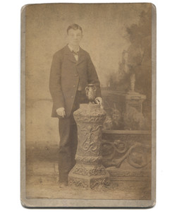 Antique Victorian Cabinet Card Photograph Young Man by Fancy Pedestal Fence & Urn