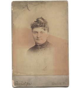Antique Victorian Cabinet Card Photo Woman w/ Lacy Dress Jewelry - Clearfield, PA