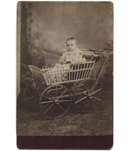 Antique Victorian Cabinet Card Photo Baby in Buggy Wooden Stroller - Clearfield, PA