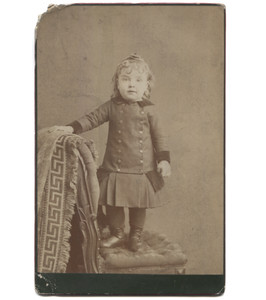 Antique Victorian Cabinet Card Photo Toddler Standing on Chair Smiling - Uhrichsville, OH
