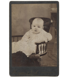 Antique Victorian Cabinet Card Photo Baby Reclining in Wood Chair - Punxsutawney, OH