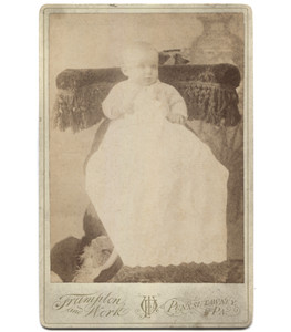 Antique Victorian Cabinet Card Photo Ghostly Baby in Christening Dress - Punxsutawney, OH