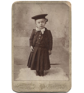Antique Victorian Cabinet Card Photograph Toddler in Sailor Hat - Punxsutawney, OH
