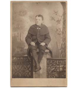 Antique Victorian Cabinet Card Photograph Boy Sitting on Column w/ Holes in Knees