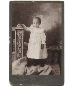 Antique Victorian Cabinet Card Photograph Toddler in Dress w/ Hand on Post - Punxsutawney, PA