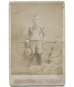 Antique Victorian Cabinet Card Photograph Boy Holding Hat in Fancy Suit - Clearfield, PA