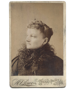 Antique Victorian Cabinet Card Photograph Woman in Ostrich Feather Scarf - Punxsutawney, PA