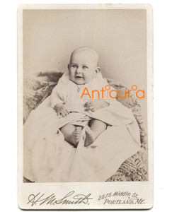 Antique Victorian Cabinet Card Baby Photo Named Subject William La Roy - Portland, ME