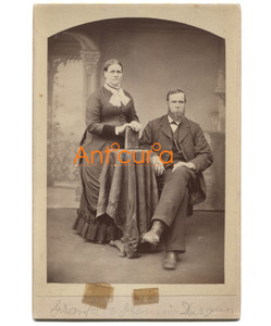 Antique Victorian Cabinet Card Photo Named Subjects Durgan - Plattsburgh, NY