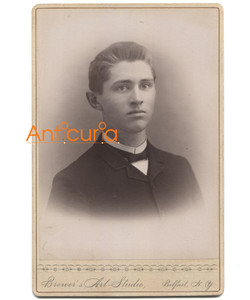Antique Victorian Cabinet Card Photo Named Subject G.S. Chamberlain - Belfast, NY