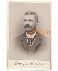 Antique Victorian Cabinet Card Photo Named Subject Sumner - Belfast, NY