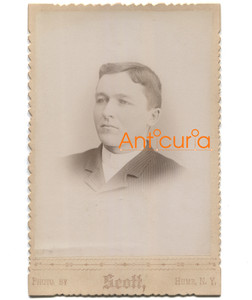 Antique Victorian Cabinet Card Photo Named Subject Chas Woodhead - Hume, NY