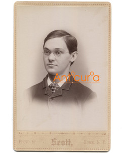 Antique Victorian Cabinet Card Photo Named Subject Fred Bliss - Hume, NY