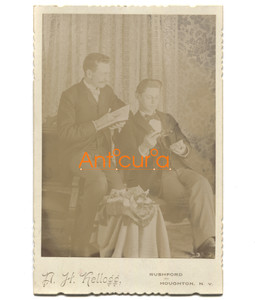 Odd Antique Victorian Cabinet Card Photograph Men Together w/ Props P.H. Kellogg Self-Portrait