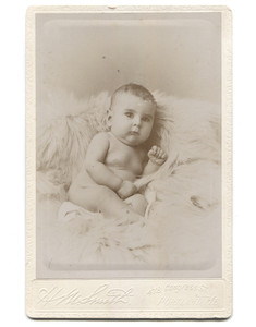 Antique Victorian Cabinet Card Photograph Cute Pudgy Baby on Fur Blanket - Portland, ME