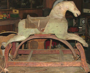 Antique Primitive Victorian Hand-Crafted Wooden Rocking Horse with Original Paint