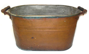 Antique Rustic Copper Boiler Wash Tub Canner w/ Dark Patina, Repairs & Verdigris