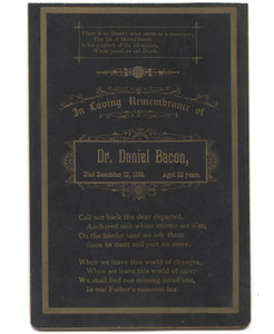 Antique 1888 Dr. Daniel Bacon Death Mourning Remembrance Card Funeral Cabinet Card