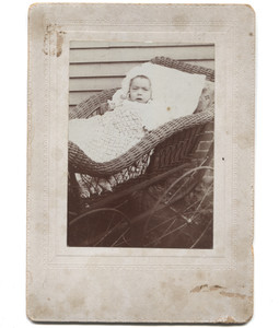 Antique Victorian Cabinet Card Photograph Baby in Steel Wheeled Wicker Buggy