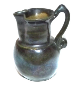 Antique Dainty Miniature Stoneware Crock Jug Pitcher Creamer w/ Handle