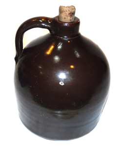 Antique Dark Brown J. Fisher Half Gallon Stoneware Crock Jug - Lyons, NY