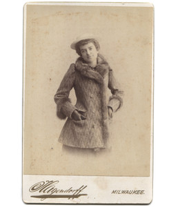 Antique Victorian Cabinet Card Photograph Standing Woman in Fur Coat - Milwaukee, WI